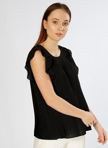 House Of Camellia Volanlı Kolsuz Bluz Siyah